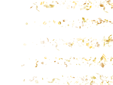 Gold luminous confetti flying on white holiday card background. Creative flying sparkle elements, gold foil gradient serpentine streamers confetti falling anniversary vector. Illustration