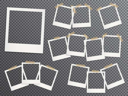 Blank photo frames set hanging on adhesive tape vector realistic illustration. EPS10 mockups. Retro photo frame templates. Glued with duct tape vintage instant photoframes with blank pictures place. 免版税图像 - 124856574