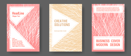 Catalog cover vector templates. Sand and coral colors waves textures. Marketing catalog trendy layouts design set. Liquid rippling motion background pattern. Research development plan covers. Illustration