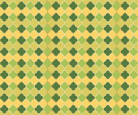 Arabic Mosque Window Vector Seamless Pattern. Ramadan mubarak muslim background. Traditional ramadan mosque pattern in gold grid borders. Rich islamic window grid design of lantern shapes tiles.