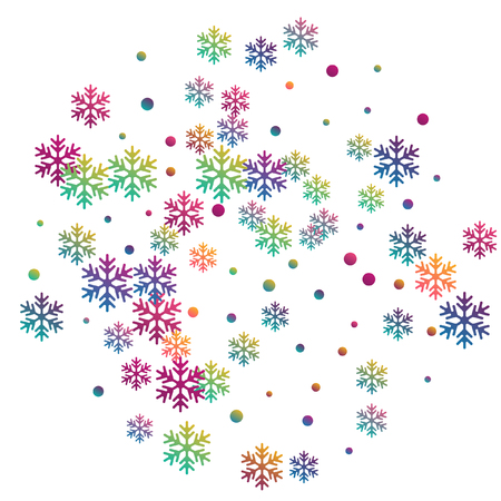 Crystal snowflake and circle shapes vector illustration. Windy winter snow confetti scatter flyer background. Flying gradient snow flakes background, awesome water crystals vector.