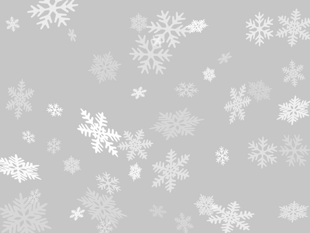 Snow flakes falling macro vector design, christmas snowflakes confetti falling scatter banner. Winter snow shapes decor. Windy flakes falling and flying winter cold weather vector. Çizim