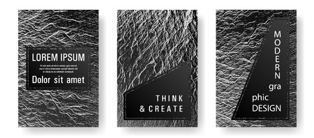 Booklet design vector layouts set. Black and white waves texture backdrops. Cool booklet vector cover templates design. Buoyant wavy flux background pattern. Minimal cover page concepts.