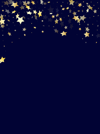 Gold gradient star dust sparkle vector background. Decorative gold star sparkles dust elements on dark blue night sky vector illustration. Holiday starlight poster backdrop. Illustration