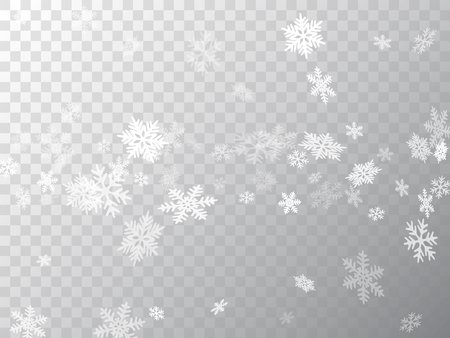 Snow flakes falling macro vector illustration, christmas snowflakes confetti falling scatter banner. Winter snow shapes decor. Windy flakes falling and flying winter clear vector background. Illustration