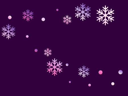 Crystal snowflake and circle shapes vector graphics. Cool winter snow confetti scatter poster background. Flying gradient snow flakes background, frosty water crystals confetti.