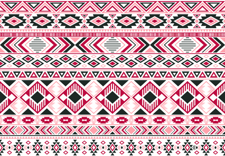 Gypsy pattern tribal ethnic motifs geometric seamless background. Doodle gypsy geometric shapes sprites tribal motifs clothing fabric textile print traditional design with triangles Ilustrace