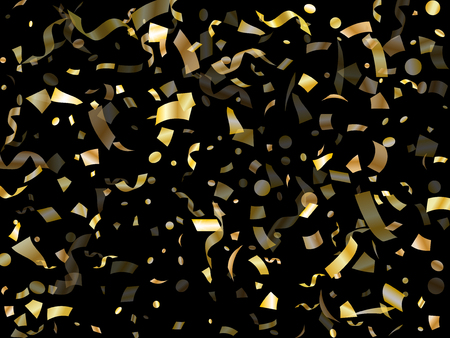 Gold sparkling confetti flying on black holiday vector design. Trendy flying tinsel elements, gold foil gradient serpentine streamers confetti falling carnival vector. Vettoriali