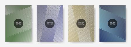 Gradient zig zag stripes texture vector backgrounds for   brochure covers. Minimalistic zig zag gradient line stripes composition. Presentation backgrounds set.