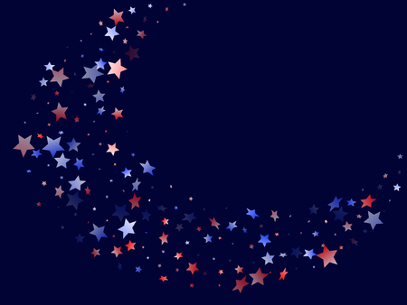 American Independence Day stars background. Holiday confetti in USA flag colors for Presidents Day. Navy red blue white stars on dark American patriotic vector. 4th of July holiday stardust.