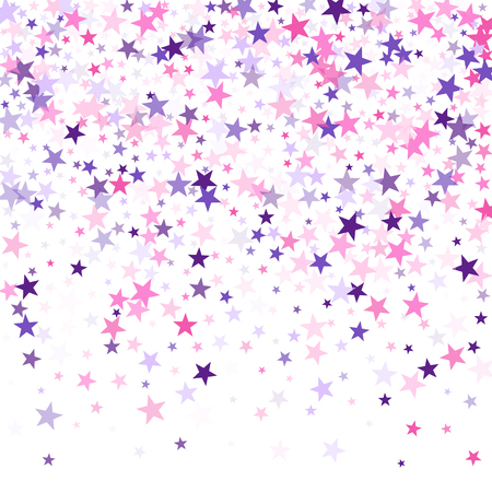 Flying stars confetti holiday vector in pink violet purple on white. Cosmic sparkles stylish design. Trendy stars explosion background. Salute celebration elements isolated.
