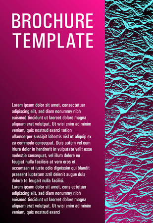 Brochure layout design template. Plastic pink black blue synthwave texture. Buoyant wavy flux background pattern. Business brochure vector cover layout. Company strategy book cover. Çizim