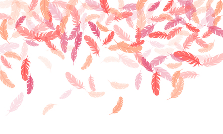 Cool pink flamingo feathers vector background. Smooth plumelet tribal ornate graphics. Falling feather elements soft vector design. Plumage fluff dreams symbols.