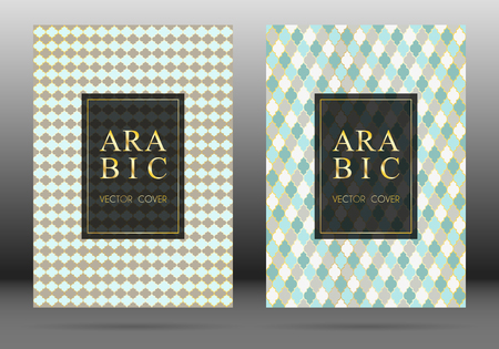 Arabesque pattern vector cover page layout design set in arabic style mosaic in gold grid. Islamic background, moroccan, turkish, persian, ottoman pattern vector template. Architectural motifs.