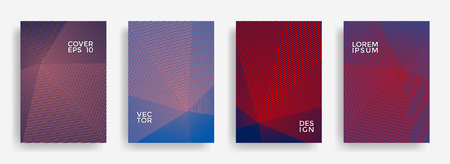 Minimalist annual report design vector collection. Halftone grid texture cover page layout templates set. Report covers geometric design, business brochure pages corporate banners.
