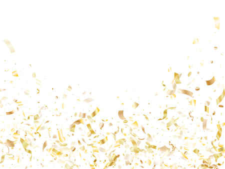 Gold glowing confetti flying on white holiday banner background. Glamour flying tinsel elements, gold foil texture serpentine streamers confetti falling new year vector.