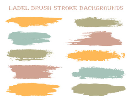 Artistic label brush stroke backgrounds, paint or ink smudges vector for tags and stamps design. Painted label backgrounds patch. Interior colors guide book elements. Ink dabs, orange khaki splashes.