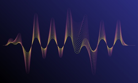 Digital equalizer sound wave vector illustration. Music neon background. Illuminated digital wave of glowing particles. HUD element technology concept. Dynamic light flow with neon light effect. Illustration