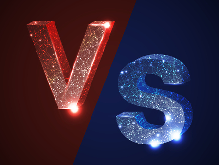 VS versus letters vector logo icon isolated on red blue background. VS logo versus symbol for confrontation, battle, sport fight or opposition concept. Wireframe network nodes alphabet letters V, S.