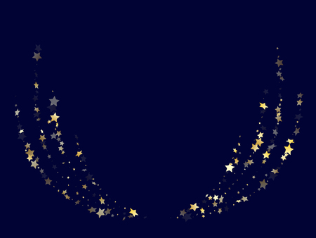 Gold gradient star dust sparkle vector background. Chaotic gold star sparkles dust elements on dark blue night sky vector illustration. New Year tinsels scatter flying pattern.