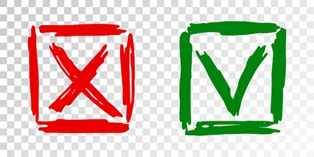 Tick cross vector check marks icons. Done checklist symbols scribble design. Simple dos and donts checkmarks. Poll quiz question labels, vote stickers. Correct right and false wrong survey chioces.