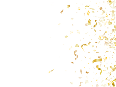Gold shining realistic confetti flying on white holiday poster background. Modern flying tinsel elements, gold foil texture serpentine streamers confetti falling festive background.