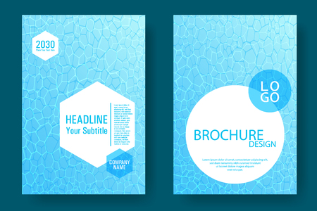 World Oceans Day brochure cover templates vector set. Earth Day flyers with clean ocean water caustics ripple pattern. Banner, cover, poster, flyer layouts. Turquoise wavy ripple background.
