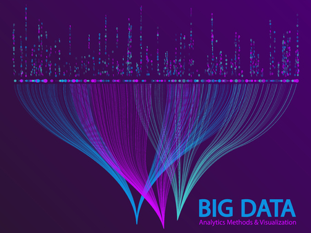 Big data analytics methods and visualization concept vector design. and 1 binary information data visualization. Digital analytics statistical information of big number curves abstract matrix.