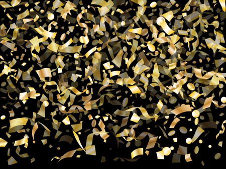 Gold sparkling confetti flying on black holiday vector design. Chic flying tinsel elements, gold foil texture serpentine streamers confetti falling anniversary background.