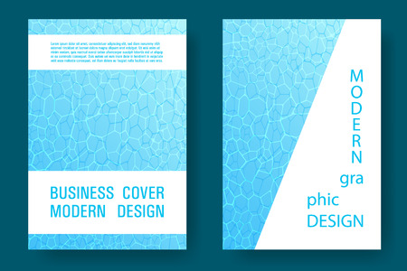 World Oceans Day brochure cover templates vector set. Earth Day flyers with clean ocean water caustics ripple pattern. Report cover, banner, poster, flyer layouts. Turquoise wavy ripple background. Illustration