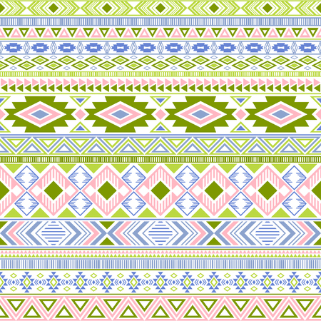 Aztec american indian pattern tribal ethnic motifs geometric vector background. Eclectic native american tribal motifs textile print ethnic traditional design. Mexican folk fashion.