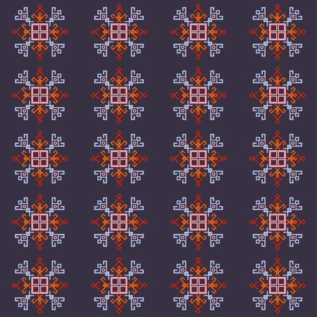 Ethnic motifs graphic design elements, embroidery style pattern. Native american motif with tribal mayan symbols, ethnic navajo pattern, folk art.