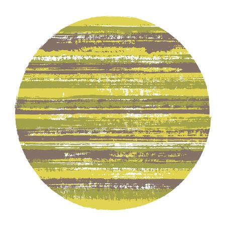 Forme géométrique vectorielle en cercle rugueux avec texture rayée de lignes horizontales de peinture. Vieux disque de texture de peinture. Tamponnez le cercle de logotype de forme ronde avec un fond grunge de rayures. Logo