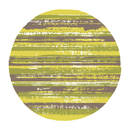 Rough circle vector geometric shape with striped texture of paint horizontal lines. Old paint texture disc. Stamp round shape logotype circle with grunge background of stripes. Vectores
