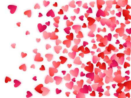 Red flying hearts bright love passion vector background. Romantic signs confetti. Sweetly flying red hearts scatter for birthday card.