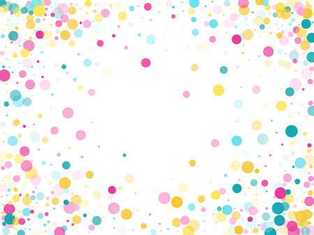Memphis round confetti trendy background in cayn, magenta and yellow on white.  Childish pattern vector, childrens party birthday celebration background.  Holiday confetti circles in memphis style.