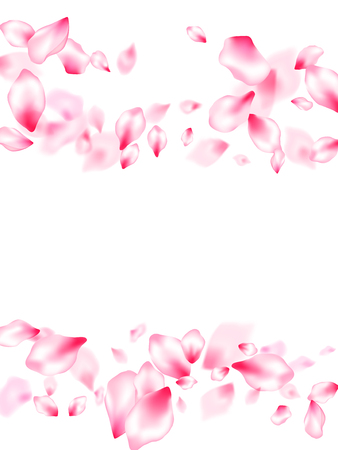 Japanese cherry blossom pink flying petals windy blowing background. Isolated flower parts wedding decoration vector. SPA beauty illustration of sakura bloom petals. Anniversary background.