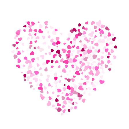 Fond de vecteur de carte d'invitation de confettis coeurs cramoisis. Merveilleuse illustration de dispersion de coeurs tombants. Conception graphique de vacances de concert d'amour. Vecteurs