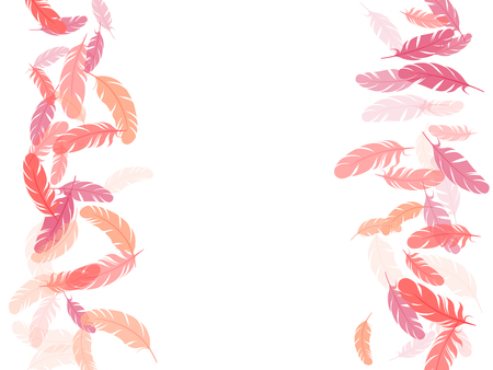 Romantic pink flamingo feathers vector background. Quill plumelet silhouettes illustration. Fluffy twirled feathers on white design. Plumage fluff dreams symbols.