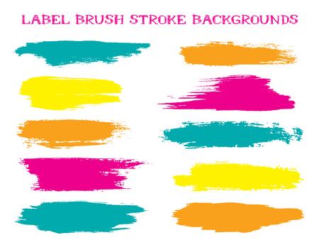 Futurystyczne tła obrysu pędzla etykiet, wektor smugi farby lub atramentu do projektowania tagów i znaczków. Malowana łatka tła etykiety. Próbki palety kolorów farb do wnętrz. Smugi atramentu, turkusowe plamy.