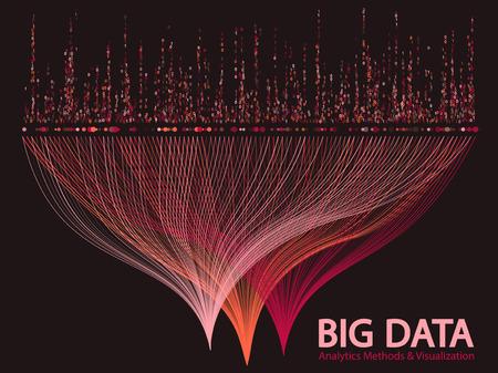 Big data-analysemethoden en visualisatieconcept vectorontwerp. en 1 binaire informatie data visualisatie. Digitale analytische statistische informatie van de visuele matrix van grote aantal curvelijnen.