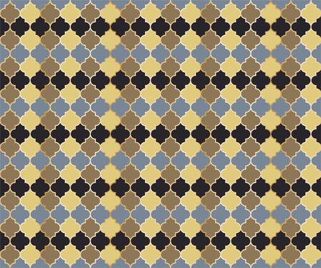 Persian Mosque Window Vector Seamless Pattern. Ramadan mubarak muslim background. Traditional ramadan mosque pattern in gold grid borders. Islamic window grid design of lantern shapes tiles.