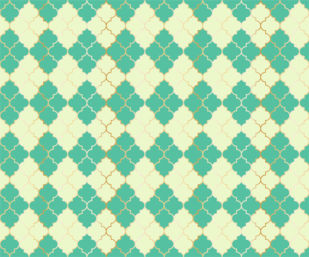 Arabian Mosque Vector Seamless Pattern. Argyle rhombus muslim textile background. Traditional mosque pattern with gold grid. Rich islamic argyle seamless design of lantern lattice shape tiles. 向量圖像