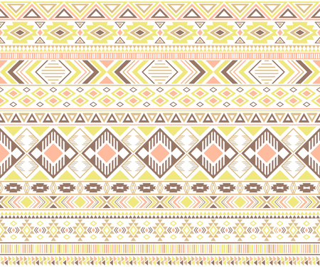 Rhombus and triangle symbols tribal ethnic motifs geometric seamless background. Doodle gypsy tribal motifs clothing fabric textile print traditional design with triangles Ilustrace