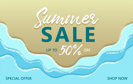Summer sale special offer up to 50% off banner with sand beach and ocean blue coastal waves, sea foam vector illustration. Shop now summer sale poster. Marine seaside sand, blue water, sea waves foam. Illustration