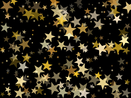 Luxurious gold star dust sparkle vector background. Glitter stardust confetti, shining sparkles pattern design on dark. Glossy gold stars vector, tinsel lights background. Flyer backdrop. Illustration