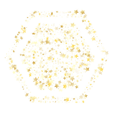 Flying gold star sparkle vector with white background. Festive gold gradient christmas sparkles glitter geometric star pattern. New Year starburst flying backdrop.