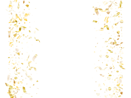 Gold glitter realistic confetti flying on white holiday vector graphics. Modern flying sparkle elements, gold foil gradient serpentine streamers confetti falling christmas vector.
