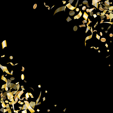 Gold glossy confetti flying on black holiday vector design. Creative flying tinsel elements, gold foil gradient serpentine streamers confetti falling new year background.