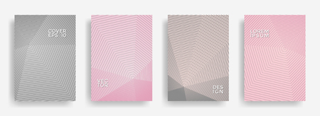 Scientific annual report design vector collection. Gradient grid texture cover page layout templates set. Report covers geometric design, business booklet pages corporate templates.
